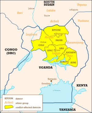 Ugandan districts affected by Lords Resistance...